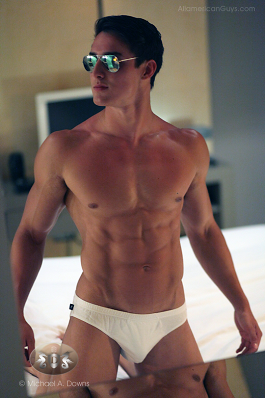 Justin DeRoy in white briefs