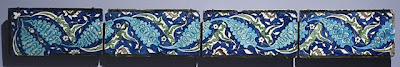 Tiles | Origin: Syria | Period:  16th-17th century | Collection: The Madina Collection of Islamic Art, gift of Camilla Chandler Frost (M.2002.1.197a-c) | Type: Ceramic; Architectural element, Fritware, underglaze-painted, a) Height: 5 3/4 in. (14.61 cm); a) Width: 11 1/2 in. (29.21 cm); a) Depth: 1 1/8 in. (2.86 cm); b) Height: 5 13/16 in. (14.76 cm); b) Width: 11 1/2 in. (29.21 cm); b) Depth: 1 in. (2.54 cm); c) Height: 5 11/16 in. (14.45 cm); c) Width: 11 5/16 in. (28.73 cm); c) Depth: 1 in. (2.54 cm)