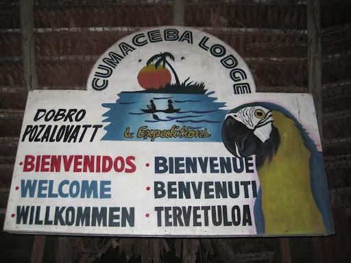 Welcome sign over the bar at Cumaceba Lodge