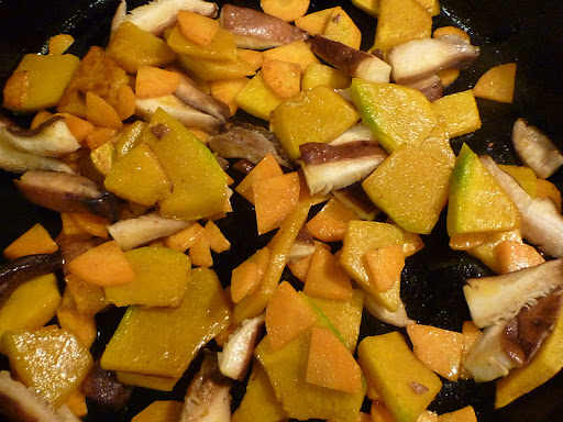 Sauteed winter squash, carrots, and shiitake mushrooms