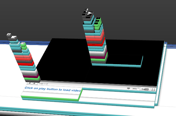 3D view of like buttons on the video