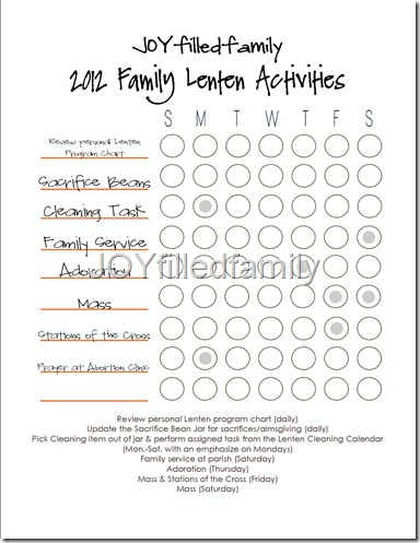 JOYfilledfamily Lenten Activity Chart