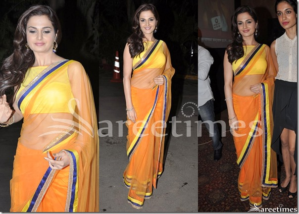 Monica_Bedi_Orange_Shimmer_Saree