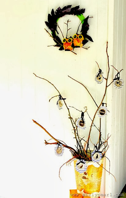 Halloween Creepy Owl Wreath and Twig Tree - The Silly Pearl