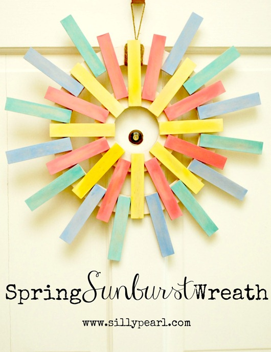 Spring Sunburst Wreath with Chalk Paint - The Silly Pearl