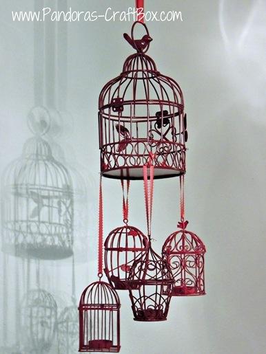 Red Birdcage Chandelier
