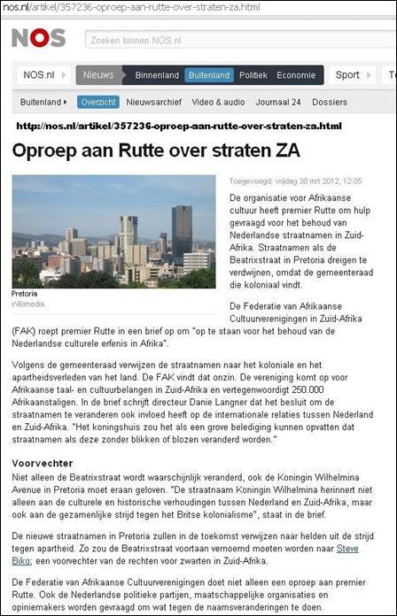 Pretoria name change FAK asks Dutch premier Rutte to stop ethnic cleansing name changes of Pretoria streets