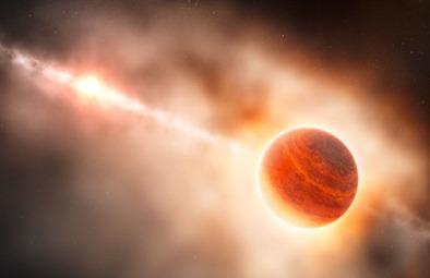 ilustração do protoplaneta ao redor de estrela