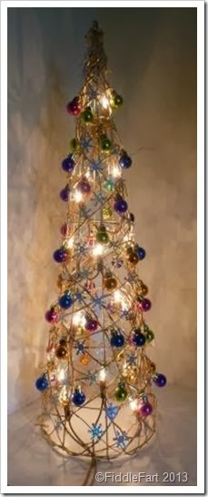 Illuminated Dunelm Christmas Tree Cone.  bejewelled Christmas tree cone