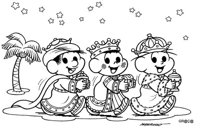 Turma da Mônica Natal,tres reis magos,desenho para imprimir e colorir natal,