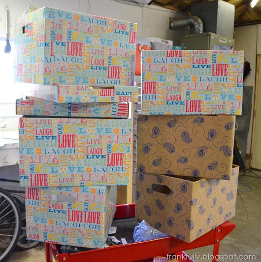 lots of bankers boxes decorated with fun paper!