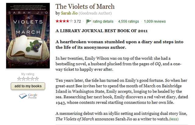 The Violets of March by Sarah Jio - Reviews, Discussion, Bookclubs, Lists