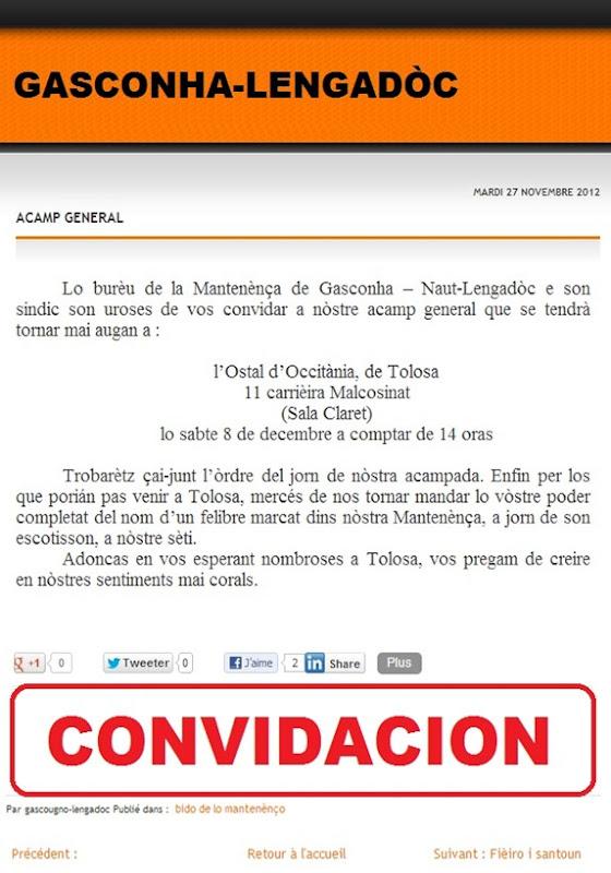 Convidacion de la mantenença Gasconha-Lengadòc
