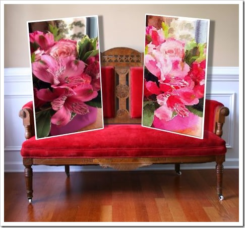 Linda Merril Original Photo Before & After with Waterlogue on Eastlake Red Velvet Settee at Rhapsody Attic on Etsy