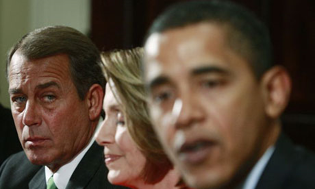John Boehner, left, has described Barack Obama's climate plan as 'crazy' but voters in a bipartisan poll have dealt out the same assessment of climate change dissenters, who comprise the majority of Republicans in Congress according to other research. Photo: Jason Reed / Reuters