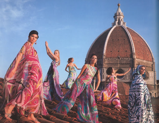 From the 1967 Spring/Summer collection, these models are on the roof of Palazzo Pucci wearing evening dresses, terrycloth capes, and palazzo pajamas.