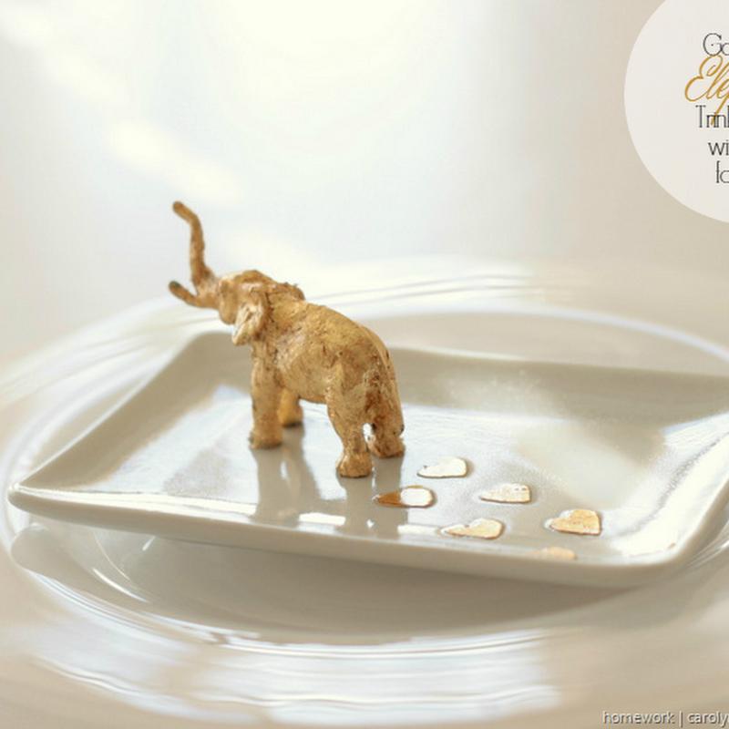 ETCETERAS: Gold Leaf Elephant Trinket Dish with Heart Footsteps