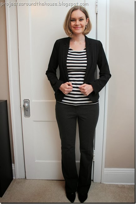 black blazer, striped shirt