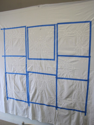 Here is finished taping job. I adjusted some of the napkin sizes so that they are the same.
