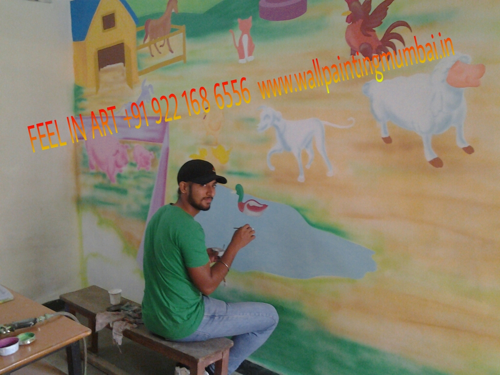Play school classroom wall painting vile parle santacruz for Classroom mural