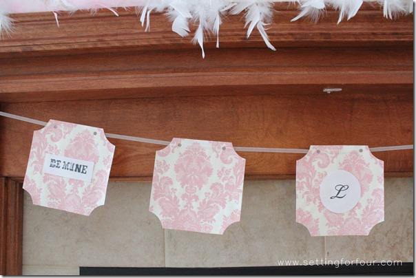 DIY Handmade Valentine Banner from Setting for Four. See how to here! http://www.settingforfour.com/2013/02/how-to-decorate-mantle-for-valentines.html  #mantle #valentine #diy #decor
