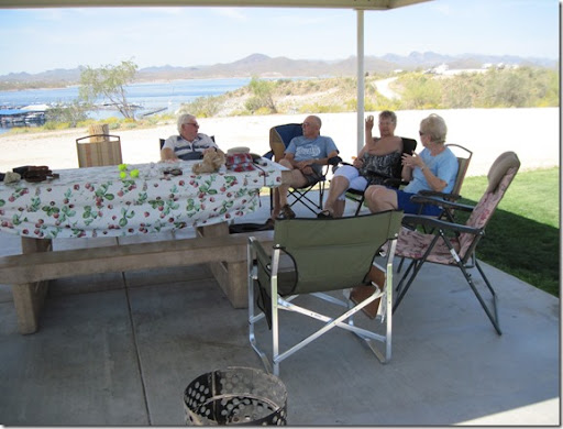 Herb Fust, Mike Williams, Jo Strong And Mary Fust Enjoying The Shade Of Our  Cabana. In The Foreground Is Our Fire In A Can In Which We Had A Fire Both  ...