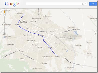 Карта на линия 1 на столичното метро от Google Maps