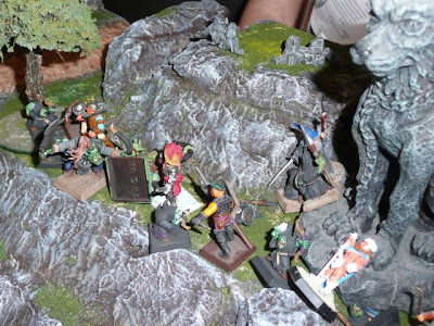 The barbarian takes a nap as Adventurer warband avenges itself against goblin archers
