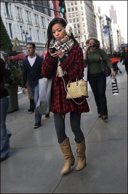 w red and black plaid coat fur ear muffs gucci bag grey tights tan plaid scarf ol