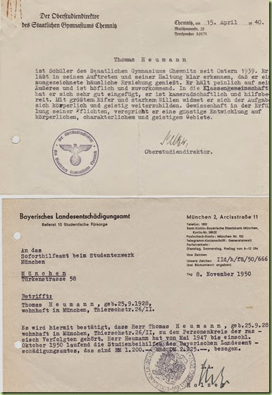 Thomas' academic info - Chemnitz, 1940 and Munich, 1950