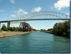 5035 Michigan - Sault Sainte Marie, MI -  St Marys River - Soo Locks Boat Tours - International Bridge, a railroad bridge and Emergency Swing Dam Bridge (red)