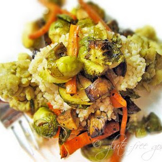 Roasted Brussels Sprouts Medley with Refried Butter Beans & Rice