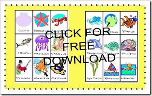 FREE Download - Spanish Ocean Vocabulary Cards