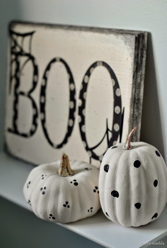 Halloween BOO sign with painted pumpkins