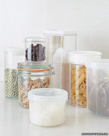 Airtight (well-sealed) containers made of plastic or glass let you see quickly how much of one ingredient you have left. These containers also protect dried goods from humidity and pests.