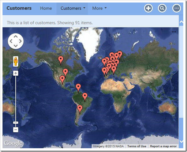 A simple map chart that shows the location of customers by country.