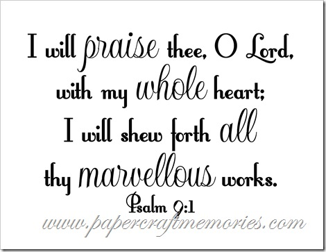 Psalm 9:1 vertical WORDart by Karen for personal use