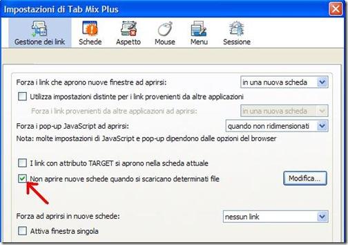 Impostazioni Tab Mix Plus Firefox