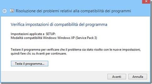 Compatibilità Windows 8 Testa il programma
