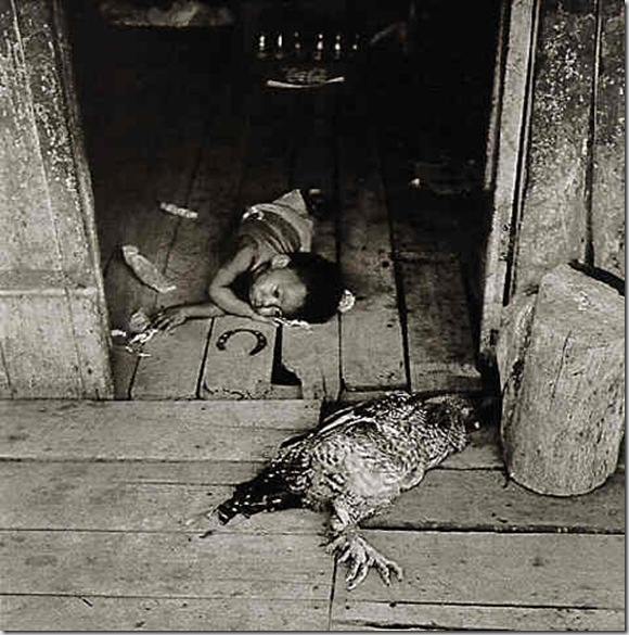 Hugo Cifuentes, Child with Chicken and Horseshoes, 1982