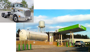 Ohio's first LNG truck fueling station, in Seville, west of Akron, will initially support ten Dillon Transport Peterbilt 384 trucks in Owens Corning service, and will be open to other shippers and carriers as well.
