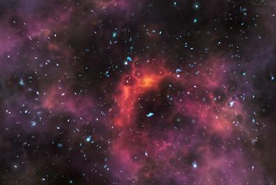 ilustração de galáxias no fim da era da reionização