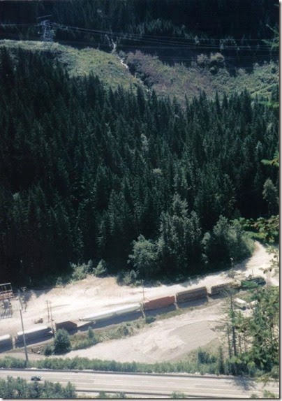 View from Windy Point on the Iron Goat Trail of BNSF Freight Train at Scenic in 1998
