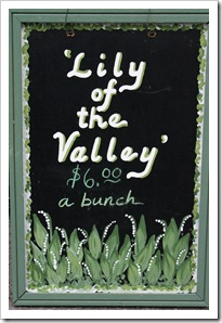 lily of the valley sign, the river garden, rhinebeck farmers market