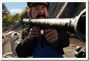 (L to R) Snowy and Captain Haddock (Andy Serkis) in THE ADVENTURES OF TINTIN: THE SECRET<br />OF THE UNICORN.