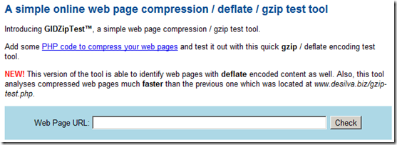 Gzip test tool for website pages