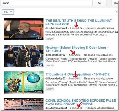Trovare i video pubblicati più di recente su YouTube