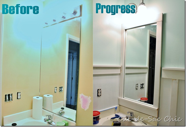 Builder Grade Mirror DIY Frame Before & After
