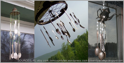 Turn old silverware and metal objects into beautiful wind chimes! CLICK to enlarge image.