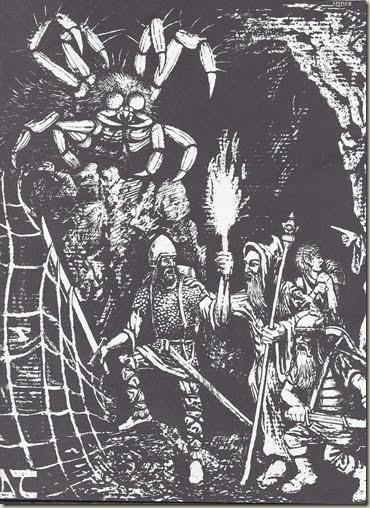 Aranha Gigante - David Trampier, 1977 Advanced Dungeons and Dragons Monster Manual, pg 91